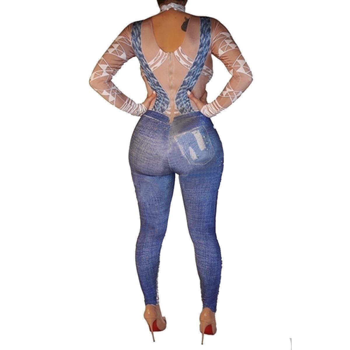 Winwinus Womens Turtleneck Silm Fit Denim Sling Romper Jumpsuit