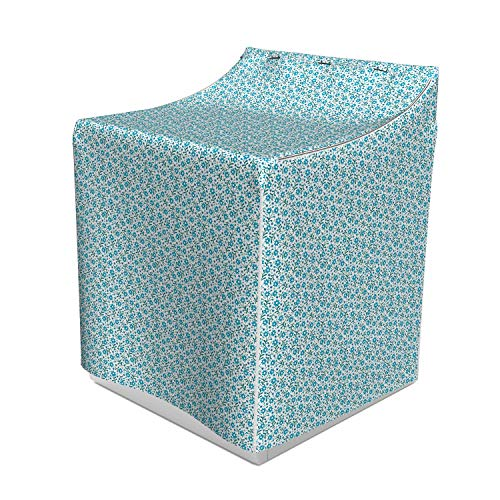 Lunarable Gardening Washer Cover, Blossoms of Blue Forget-Me-Not Flowers with Tiny Buds on Side, Easy to Use Bathroom Accent Fabric, 29