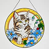 Bits and Pieces - Artistic Cat Suncatcher - Kitty Painted Glass Sun Catcher Makes a Stunning Window Ornament Decoration