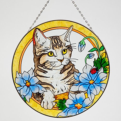 Bits and Pieces - Artistic Cat Suncatcher - Kitty Painted Glass Sun Catcher Makes a Stunning Window Ornament Decoration by Bits and Pieces