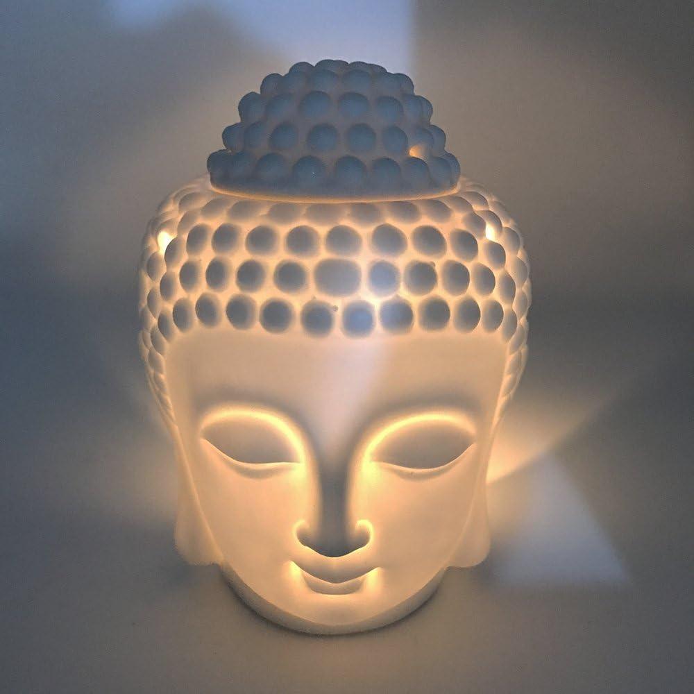 Quemador de cerámica Mayco Bell para aceites de aromaterapia. Difusor de aromas de aceites esenciales en forma de cabeza de buda indio. Quemador de incienso tibetano. Tamaño pequeño