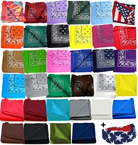 12-Pack-Paisley-Bandanas-w-American-Flag-Headband-by-CoverYourHair