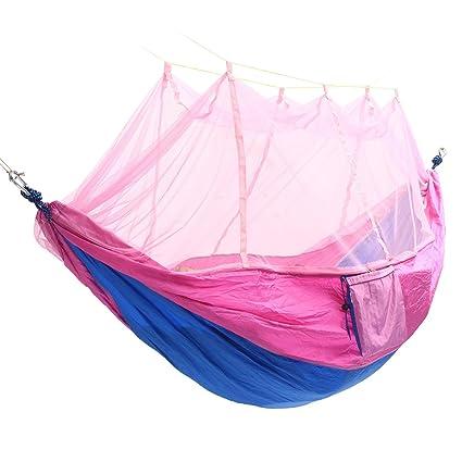 TENGGO Portátil Doble Mosquitera Hamaca Swing Cama 2 Persona Colgando Dormir Cama Viaje Camping-#