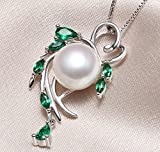 Sterling Silver Wreshwater Cultured White Pearl Pendant Necklace