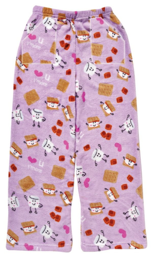 iscream Big Girls Fun Print Silky Soft Plush Pants - S'More 2 Love, Small