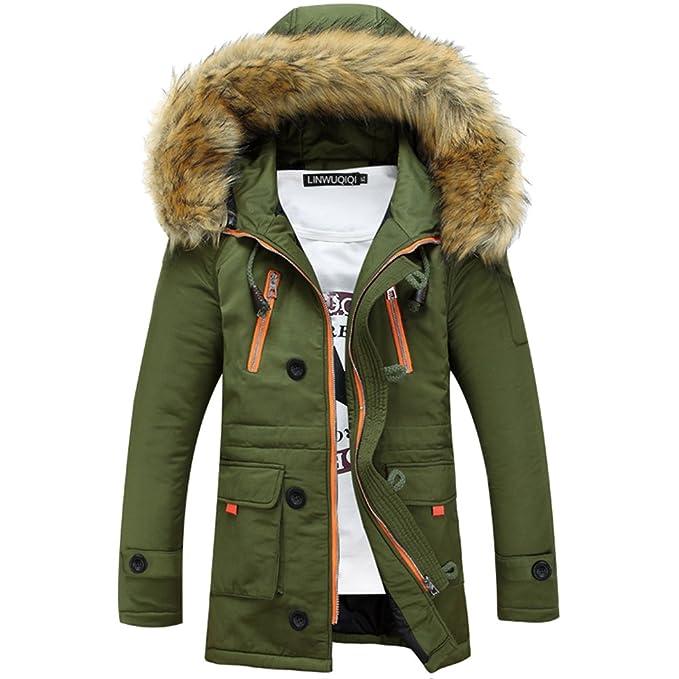 06555ec8e99ba Rera Homme Veste à Capuche Grand Col Fourrure Faux Long Manteau Jeunesse Vêtements  Hiver Épaissir en