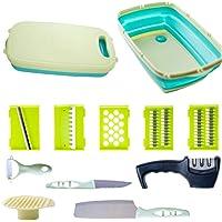 Chopping Cutting Board - 11 in 1 - Grater | Slicer | Peeler | Finger Protector | Carving Bread Knives | Foldable | Bonus…