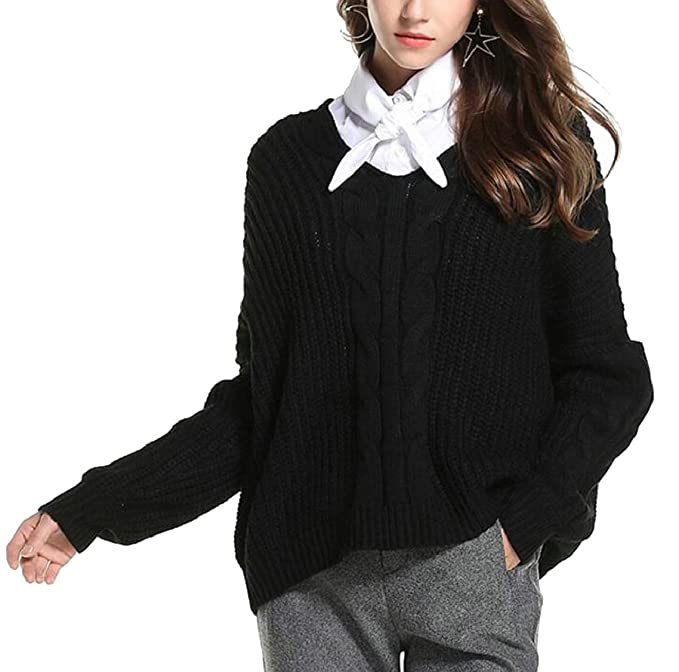 Miracle Women Casual V Neck Long Sleeve Cable Knit Pullover