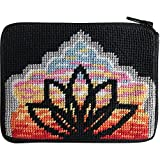 Yoga Lotus Needlepoint Coin Purse Kit-- Stitch & Zip