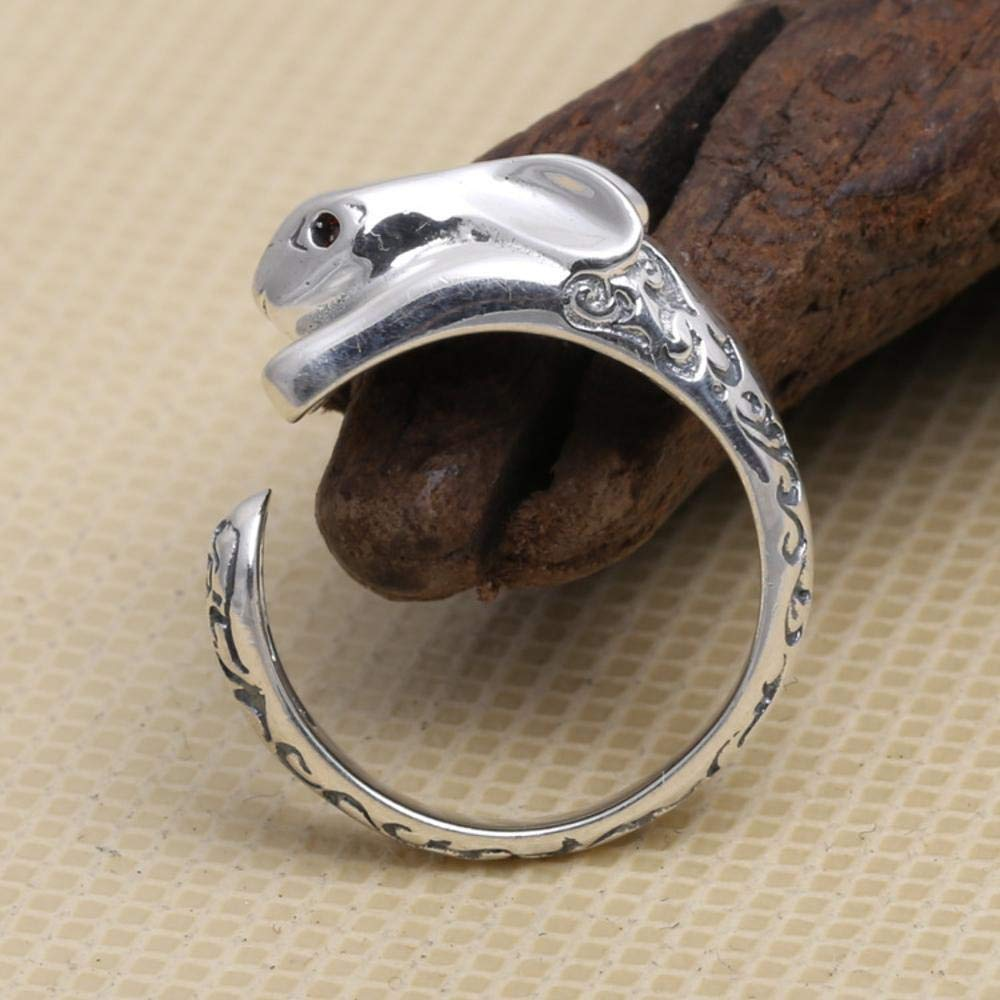 DTZH Rings Jewellery S925 Sterling Silver Retro Thai Silver Cute Bunny Ring Girlfriend Birthday Europe and The United States Wind Accessories Sent to The Dear People
