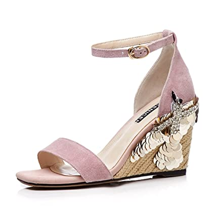 f1f3da1e83376 Amazon.com: KJJDE Women's Premium Wedge Sandals WSXY-L1708 Straw ...