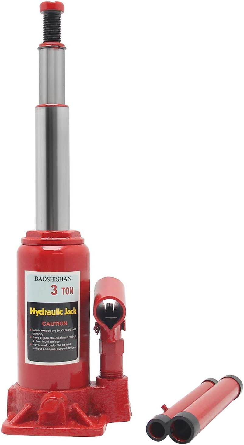 BAOSHISHAN 3 Ton Bottle Jack Double Ram 6 1//2in.-16 1//2in Lift Range with Carrying Case