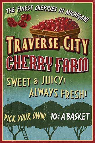 Traverse City, Michigan - Cherry Farm Vintage Sign (16x24 Collectible Giclee Gallery Print, Wall Decor Travel Poster)