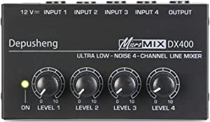 Depusheng DX400 4 Channels Mixer Mixing Console Ultra Compact Low Noise Line Mono Audio Mixer with Power Adapter