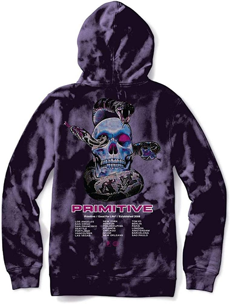 Primitive Men's World Tour Tie-dye Pullover Hoodie Purple Purple
