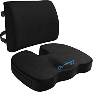 DREAM ART Memory Foam Seat Cushion & Lumbar Support Back Cushion Combo - Orthopedic Design for Coccyx & Tailbone Pain - Can Help Sciatica - Perfect for Office Chair,Car and Wheelchair…