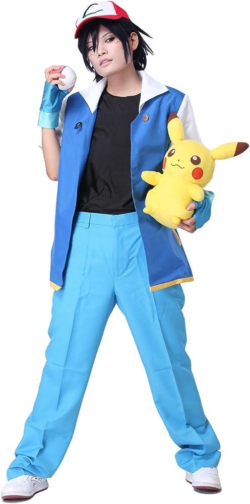xcoser Pokemon Ash Ketchum Royal Azul Chaqueta Cosplay Disfraz ...