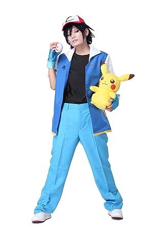 dffbf724555a Pokemon Ash Ketchum Blau Jacke Herren Shirt Kompletter Anzug Ausrüstu mit  Cap Handschuhe Cosplay Kostüm fur