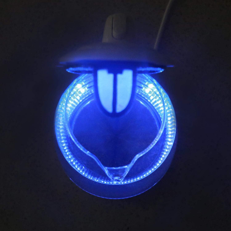 BPA frei Trockenlaufschutz EINWEGVERPACKUNG. Aigostar Chubby30LCZ Verdicktes High-Bor Glas Wasserkocher mit LED-Beleuchtung 1,7 Liter Edelstahl Glaswasserkocher 2200 Watt