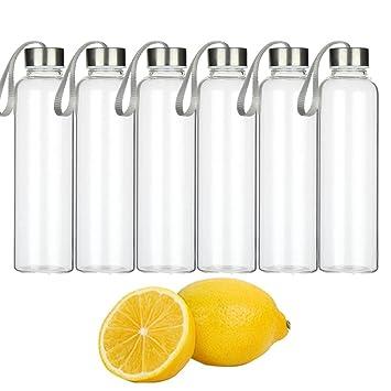 AliceBeauty Botellas de Agua Cap de acero 18 oz contenedores de vidrio conjunto de 6 zumo