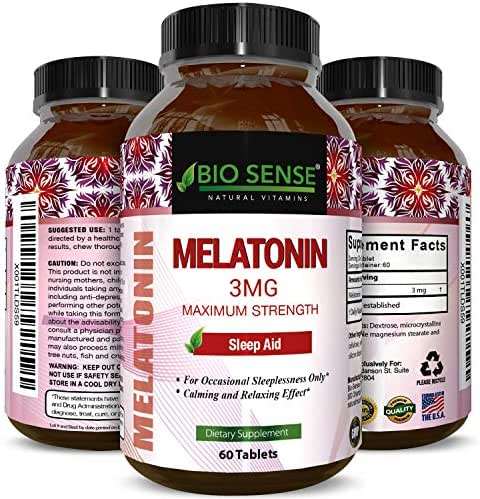 Pure Melatonin Supplement 3mg Sleeping Aid Pills for Women and men – Advanced Day Time Energy MG Tablets Chewable Night Sleep Aids – Best Fatigue Relief and Reduce Sleeplessness