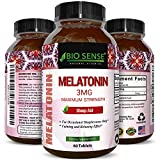 Natural Melatonin Sleep Aid with 3 mg Sleeping Pills for Men and Women Pure and Potent Chewable Tablets Supplement a Gentle and Fast Acting Sleep Support Non Addictive Non Habit Forming by Bio Sense For Sale