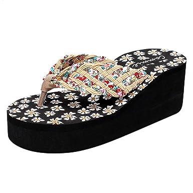 Women s Sandals Flip Flops Platform Wedge Floral Antiskid Strap Thong Slip  on Shoes (Beige 9404adf6ba48