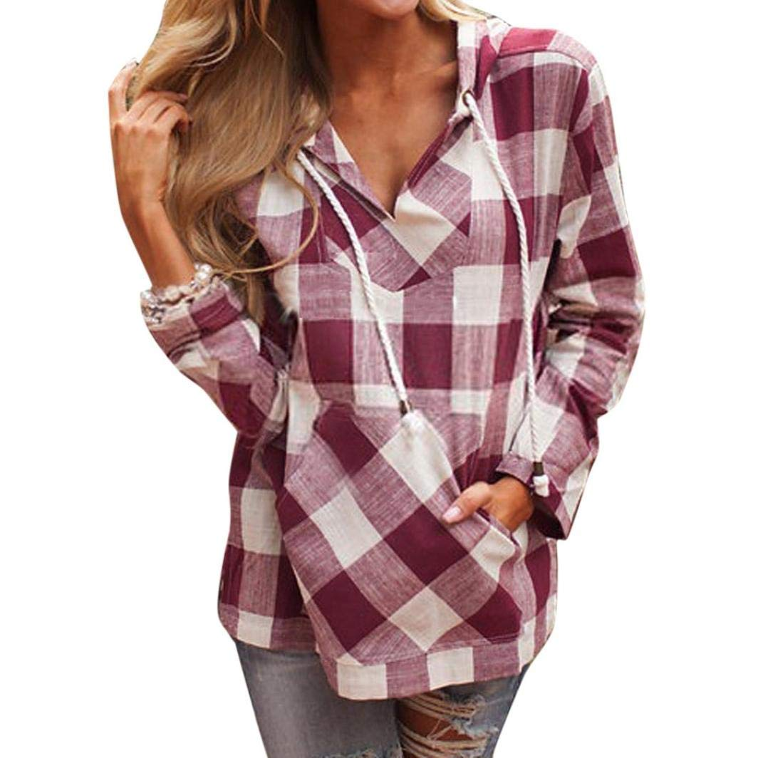 iQKA Women Plus Size Vintage Plaid Hoodie Casual Drawstring Pullover Long Sleeve Top iQKA-Women-0821