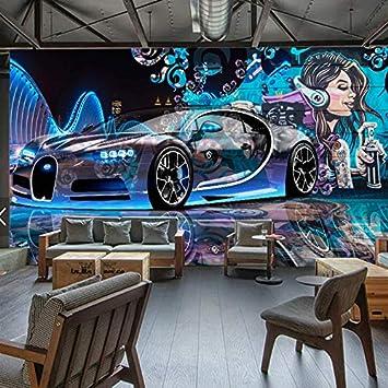 XZCWWH Fototapete 3D Street Graffiti Sport Auto Wandtuch Restaurant Kinder  Jungen Schlafzimmer Hintergrund Wandverkleidung Tapete,250cm(W)×175cm(H)