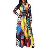 LaiyiVic Womens Maxi Dresses Long Sleeve Floral Printed Casual V Neck Loose Party Dress Fall