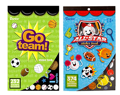 LightShine Products 2 Sports Theme Sticker Books for Kids with a Total of 608 Assorted Stickers - All Star Football Invitations