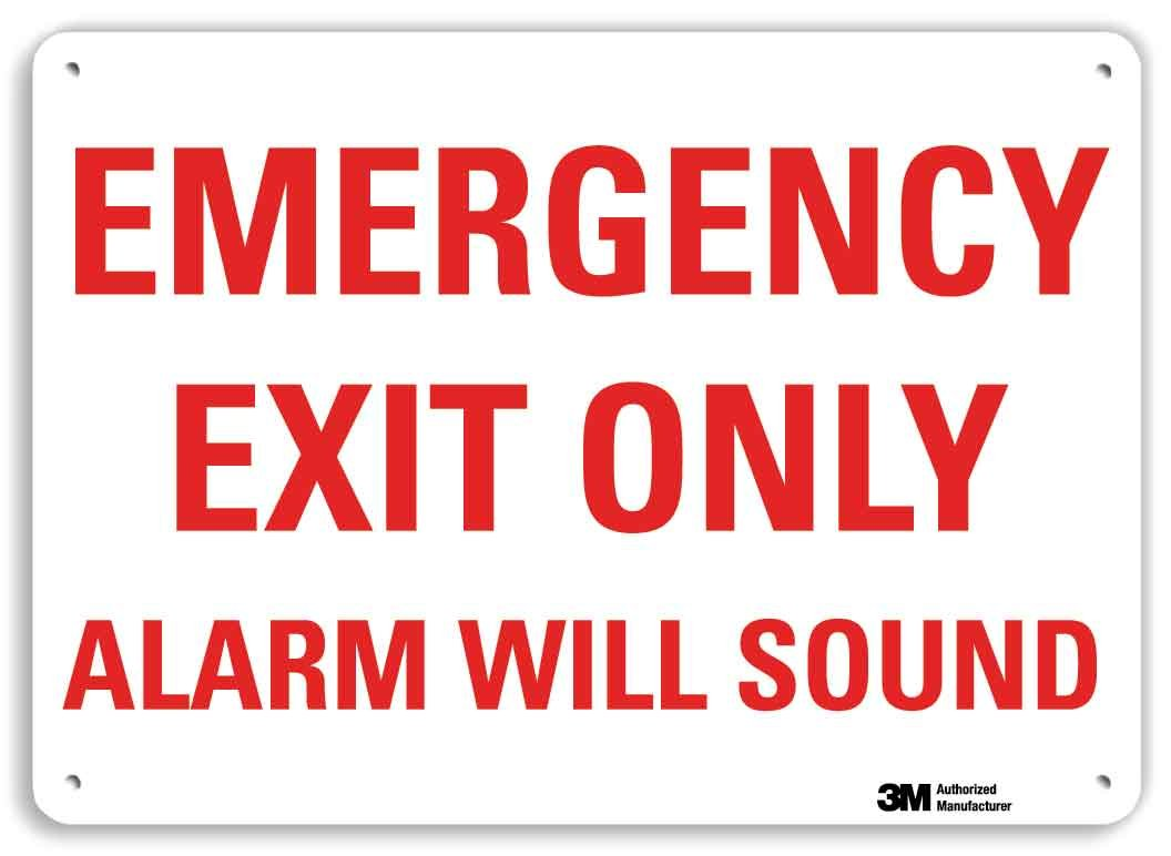 10 x 14 Plastic Alarm Will Sound Sign SmartSign Emergency Exit Only