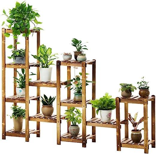 Estantería de flores Escalera de varios niveles Estantes de flores grandes Estante de madera de la planta estable Estante de exhibición para 12 Estantes de flores Estante de jardín Estante de almacena: