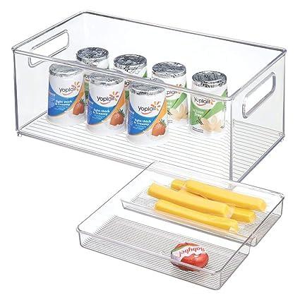 mDesign Juego de 2 cajas organizadoras con asas para nevera y despensa – Cajas de almacenaje