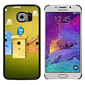 LECELL -- Funda protectora / Cubierta / Piel For Samsung Galaxy S6 EDGE SM-G925 -- Cute Blue Bird --