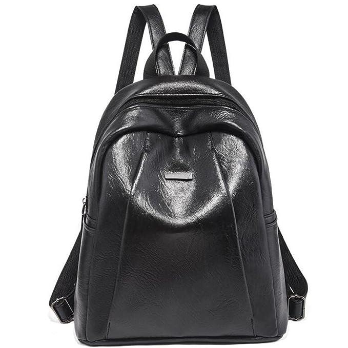Mochilas De Moda Para Mujer Bolso De Mano De Cuero Negro Viaje Casual Simple Impermeable,Black-27 * 13 * 31cm: Amazon.es: Ropa y accesorios