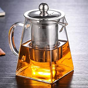 nutmeg Glass Teapot with Infuser, Borosilicate Glass Tea Pot with Tea Strainers for Loose Leaf Tea, with Removable 304 Stainless Steel Infuser, Microwavable and Stovetop Safe (750ml/25.3OZ)