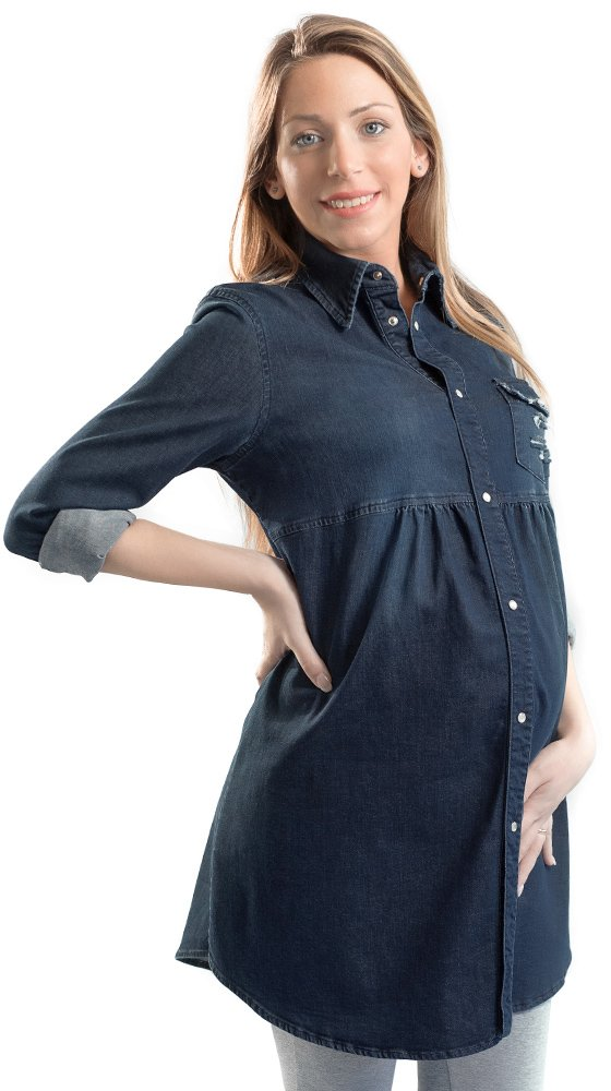 Camicia Jeans Donna Premaman, Manica Lunga - Made in Italy