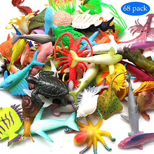 - MOLECOLE Ocean Sea Animal,Ocean Sea Animals Figures 66 Pack Assorted Mini Vinyl Plastic Animal Toy Set ,Realistic Large Deep Sea Life Shower Bath Pool Toys Cupcake Topper Party Favor Gift for Child