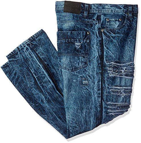 Southpole Mens Big and Tall Denim Pants Long Destructed Ripped and Repaired in Washed Colors
