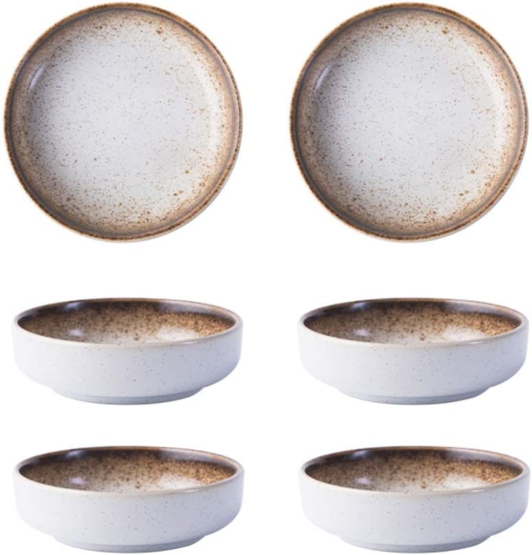 3.5 Inch Japanese Style Classic Porcelain Side Dish Bowl Seasoning Dishes Soy Dipping Sauce Dishes-Set of 6-Beige&White