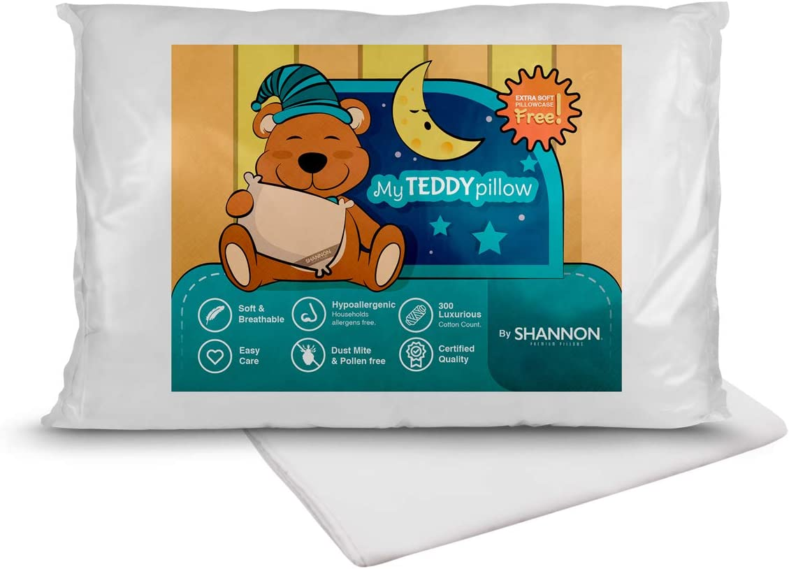 My Teddy Pillow Kids Toddler Sleeping Plush Pillow with Pillowcase 100/% Hypoallergenic Soft /& Breathable 300 Count Cotton Shell 13x18 Perfect for Travel Toddler Small Bed Infant Crib