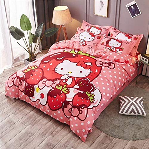 Olwen Shop 3D and Cartoon Duvet Cover Set - Soft Cartoon Pink Hello Kitty Summer Bedding Sets Twin Queen Comforter Cover Bedsheet Pillowcases for Girls Birthday Gift