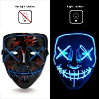Ansee Scary Mask Halloween Cosplay Led Costume El Wire Light Up for Festival Parties­ (Scary Mask Blue)