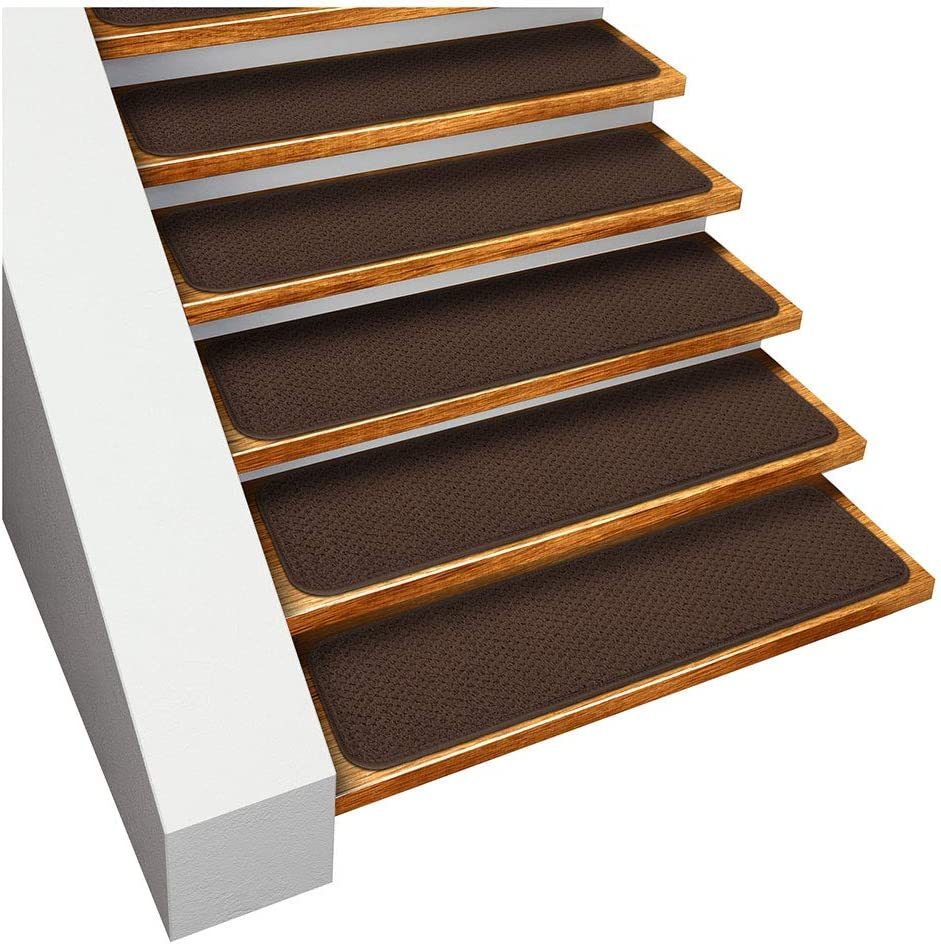 House, Home and More Set of 15 Skid-Resistant Carpet Stair Treads - Chocolate Brown - 8 Inches X 30 Inches