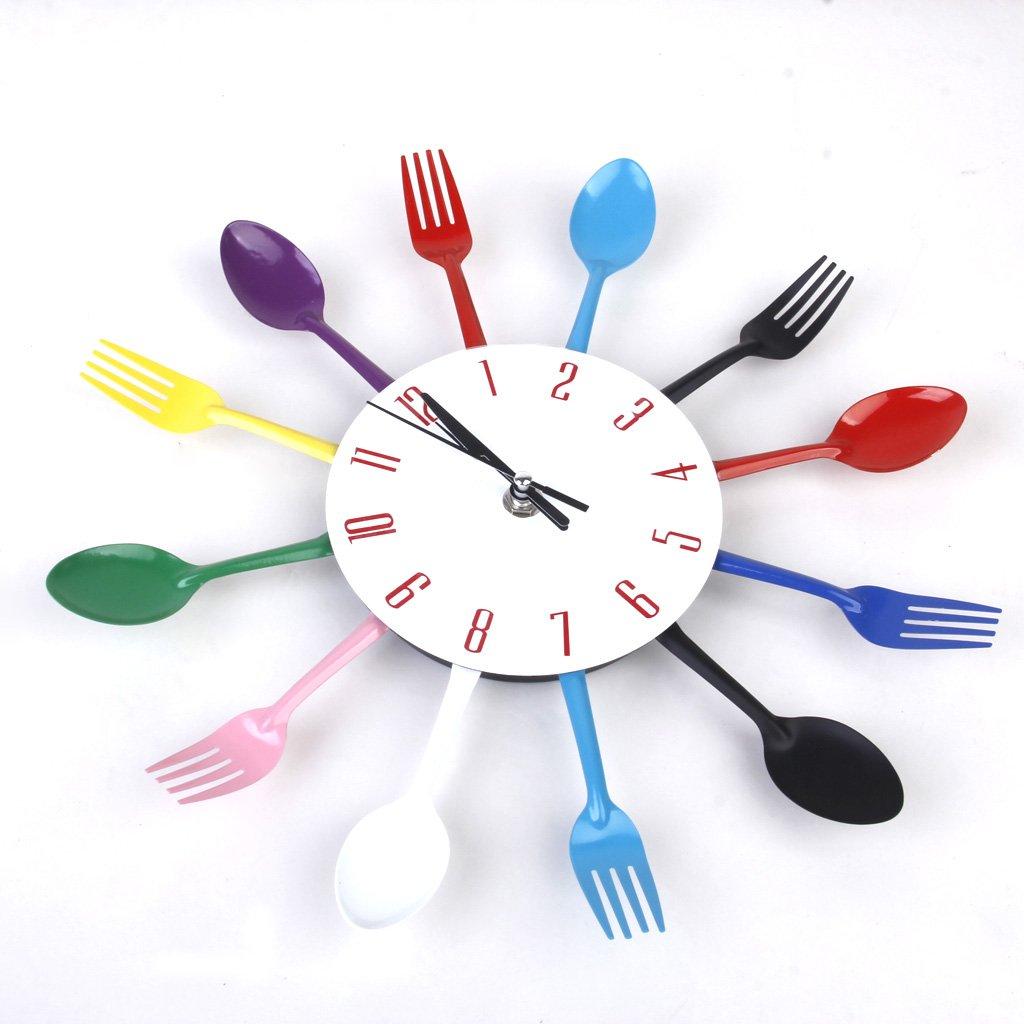 Amazon.com: Modern Unique Spoon Fork Clock Cutlery Kitchen Wall ...