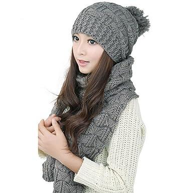 a6580115c66 Demarkt Bonnet écharpe kit - Fille Femme Hiver Bonnet Crochet Chapeaux en  Tricot Tricoté Béret