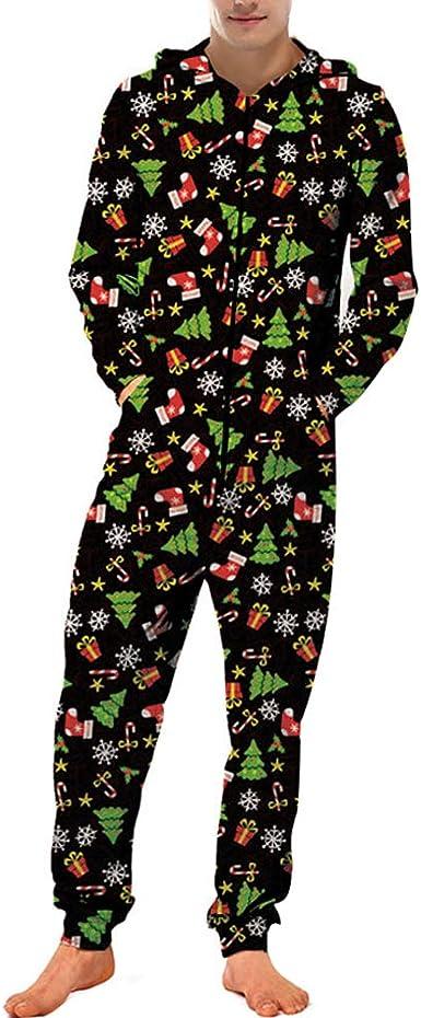 Chickwin Navidad Pijama de una Pieza con Capucha de Hombre, Unisexo Impresión 3D Trabajo Sudadera Jumpsuit Pijama Manga LargaCierre de Cremallera ...