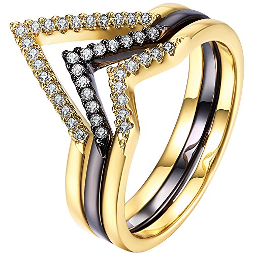 XAHH Triple V Shape Black&Gold Women Best Anniversary Promise Ring with Micro CZ Stone Paved, (2 Tone) Size (Gold Triple Stone)