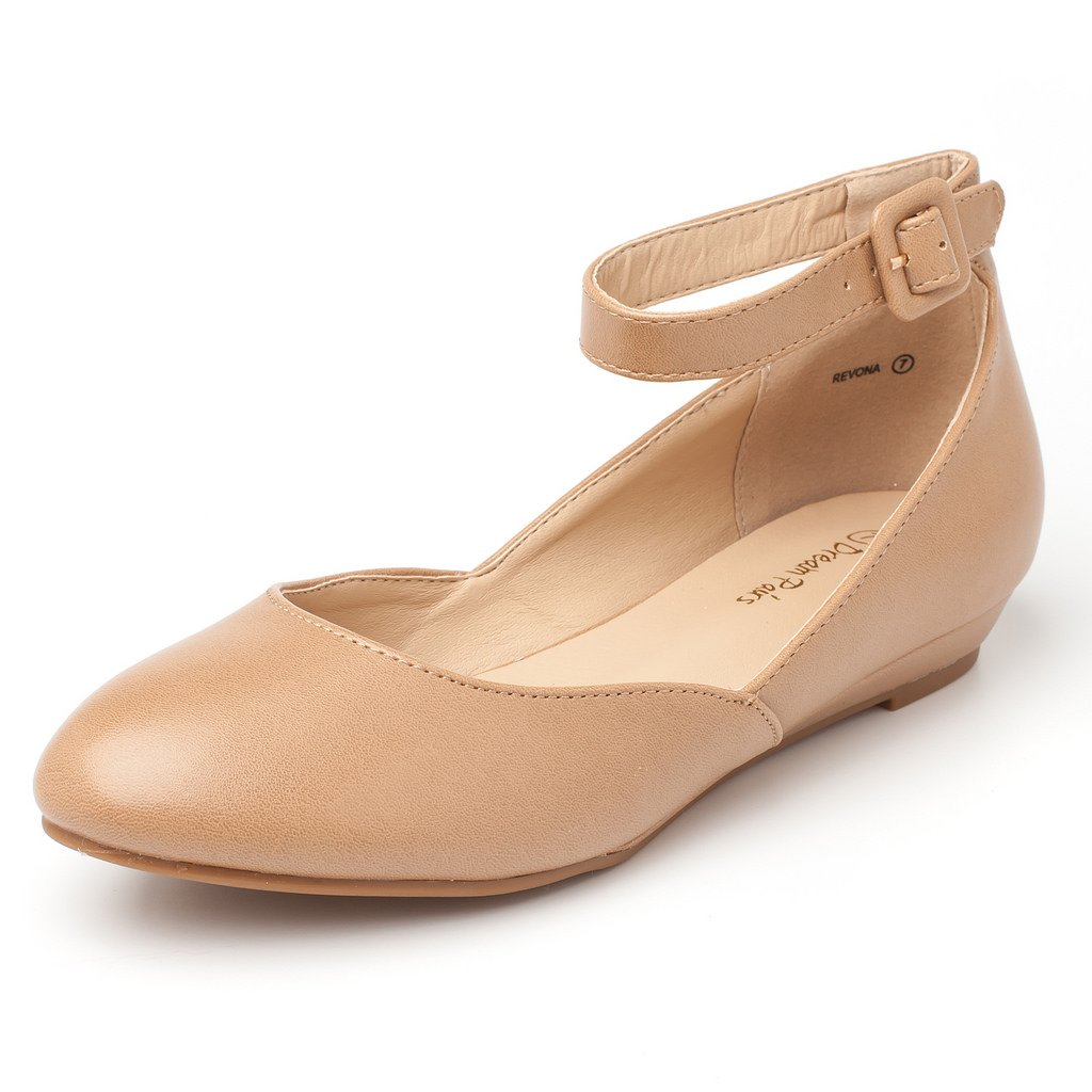 DREAM PAIRS Women's Revona Nude Pu Low Wedge Ankle Strap Flats Shoes - 7.5 B(M) US